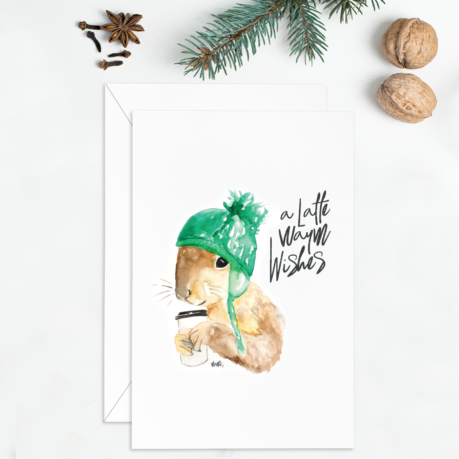 watercolour squirrel christmas card